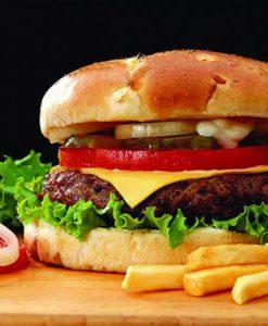 Hamberger bò + khoai tây chiên