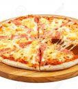 Pizza Hawaii, mozzarella, ham, pineapple isolated
